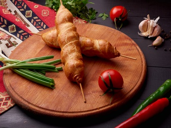 Shish kebab in dough