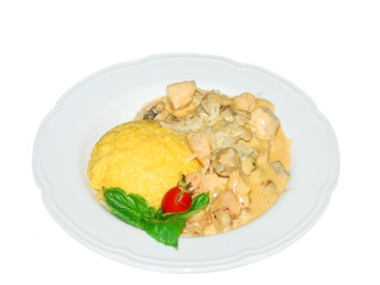 Chicken breast with polenta and mushroom sauce
