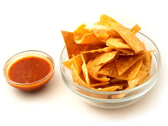 Tortilla chips with sauce
