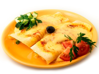 Two enchilades with cheese & onion