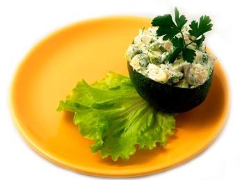 Avocado stuffed with shrimps