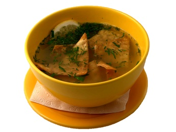 Spicy soup with chicken & tortilla