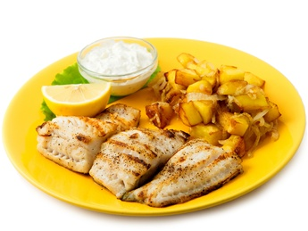 Grilled pike-perch