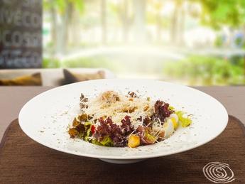 Caesar salad with tiger shrimps