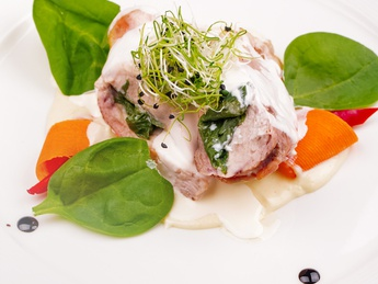 Chicken steak with spinach and cheese