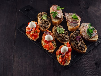 Toasts with pate and mushrooms