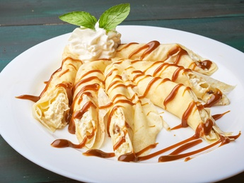 Pancakes with cheese and caramel