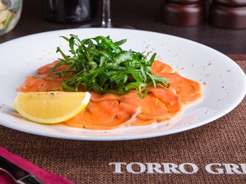 Lightly salted salmon carpaccio