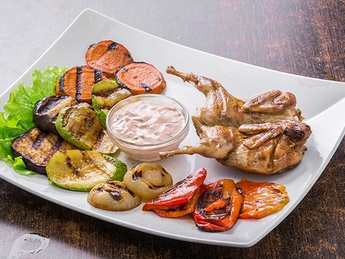Quail with grilled vegetables