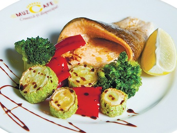 Brown trout with vegetables