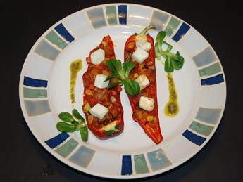 Baked peppers with vegetables and feta cheese