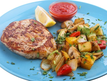 Grilled pork  with vegetable saute