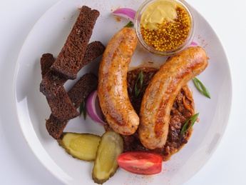 Sausages with mustard