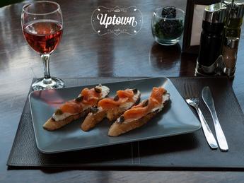 Bruschetta with salmon and cheese Buko