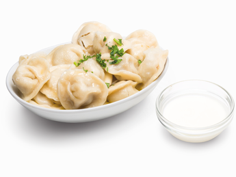 Pork Pelmeni with Sour Cream