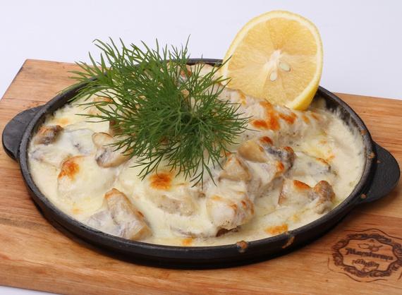 Zander in frying pan