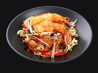 Noodles udon with shrimp
