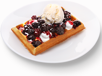 Waffles with Fruits and Ice Cream