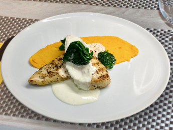 Chicken fillet with mashed root vegetables
