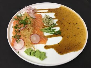 New Style Salmon Sashimi with microgreen