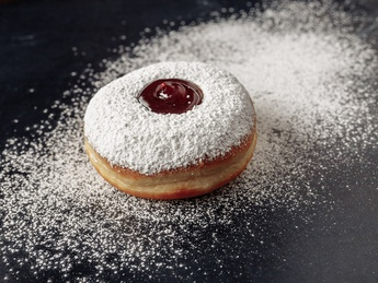 Donuts with cherry jam