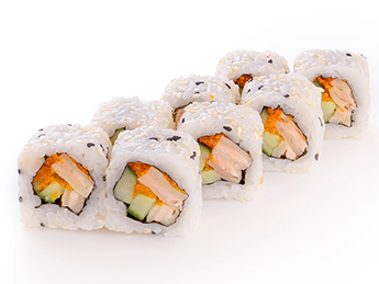 Roll with backed salmon