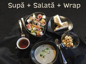 Суп, салат и врап