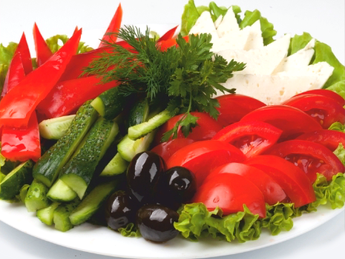 Assorted fresh vegetables and cheese