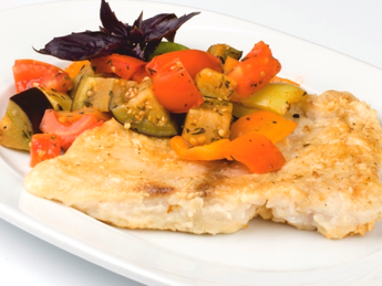 Perch filled with vegetables