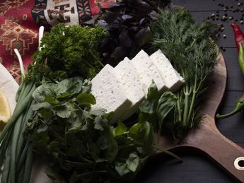 Cheese with greens