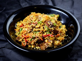 Thai rice with beef meat