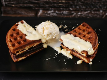 Waffles with cream sauce
