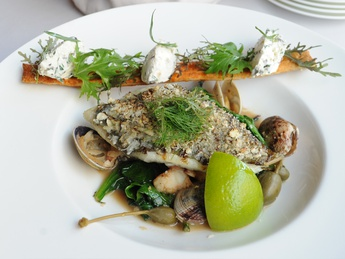 Pan fried flounder with spinach