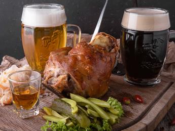Pork knuckle baked in Kozel beer