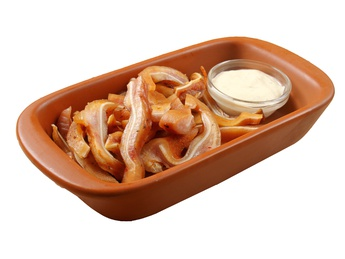 Fried piglet ears with garlic sauce