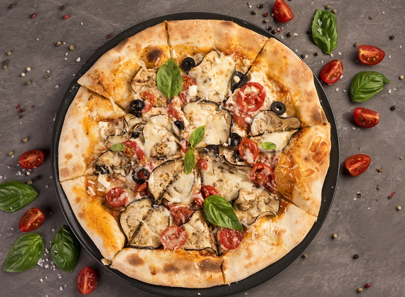 Pizza with cottage cheese and aubergine