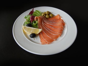 Salted salmon with olives