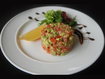 Tartar sauce with avocado and tomato
