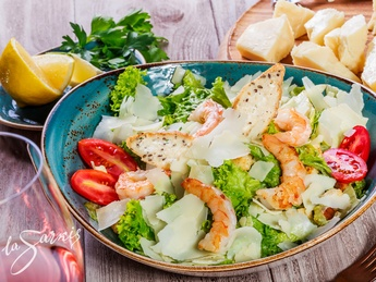 Caesar salad with tiger prawn