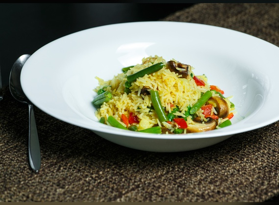 Rice curry with vegetables and green beans