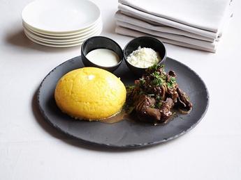 Mamaliga with rustic beef stew