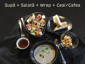 Суп, салат, врап и напиток