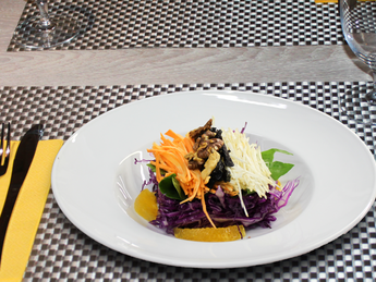 Red cabbage salad with dried plum
