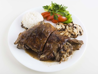 Baked young lamb with rice with liver