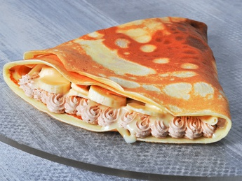 Pancake with condensed milk and banana