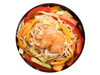 Udon with salmon