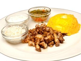 Polenta (mamaliga) with pork fillet
