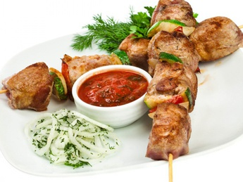 Shish kebab pork with salad