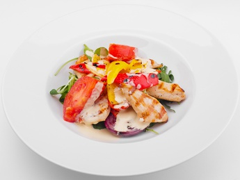 Salad with chicken grill