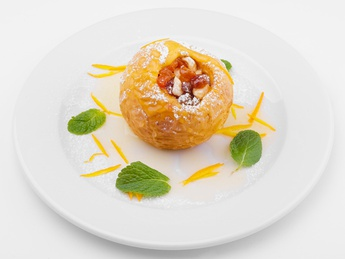 Baked apple with nut and dried fruits